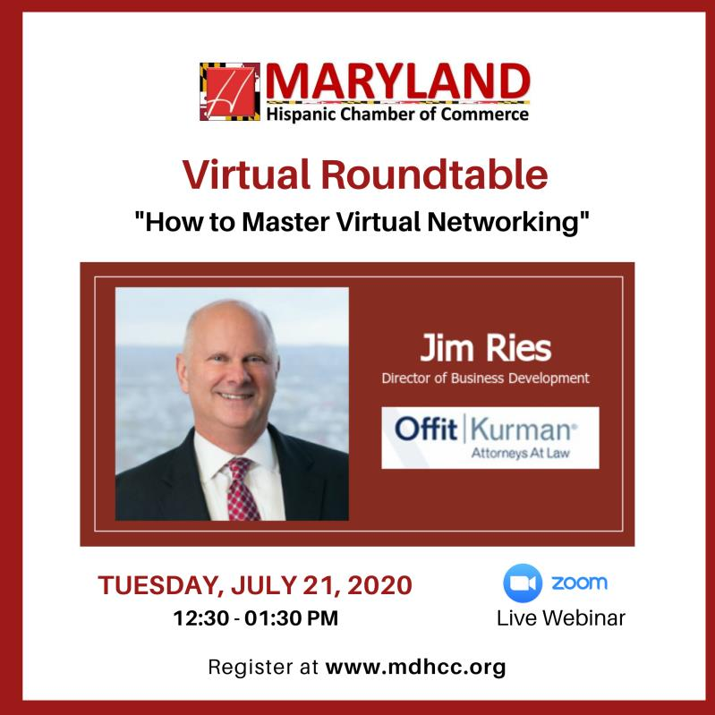 "Jim Ries Webinar with MDHCC -""Virtual Networking Strategies"""